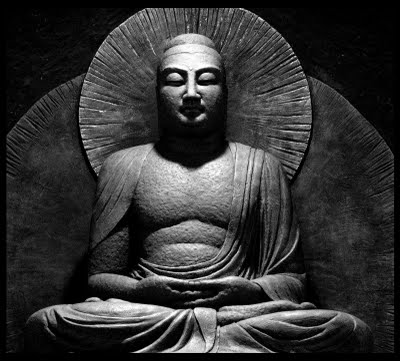 Buddha Sitting - BW
